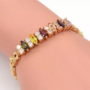 Gold rhinestone birthstone tennis bracelet